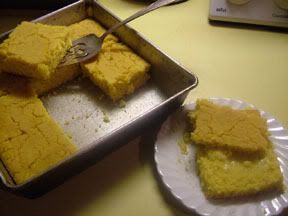 Cornbread for the rest of us.  I made a few modifications to suit my pantry and my preferences - I used almond meal instead of ground flax, lime juice instead of lemon, olive oil instead of melted Earth Balance, 1 Tblsp of Stevia instead of sugar. And Almond Milk was my milk of choice. It was quite runny when I poured it into the pan, but it baked up wonderfully - even kind of fluffy - and the taste was amazing.
