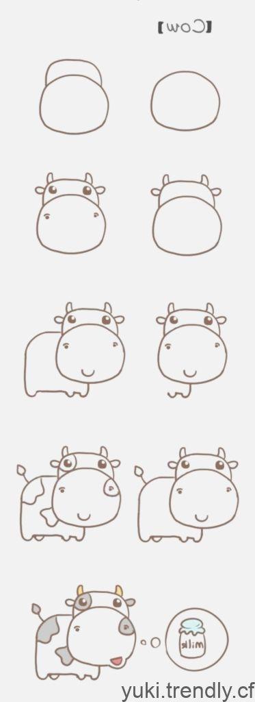 Dessinez Pas A Pas Apprenez A Dessiner Une Vache Dessin Pas A Pas Facile A Dessiner Vache Dessin Dessins Faciles
