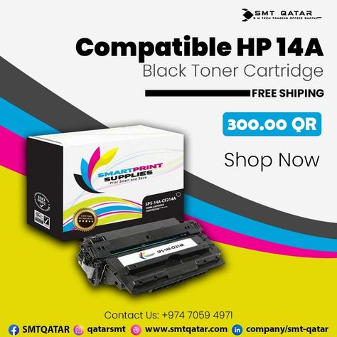 Compatible HP 14A Black Toner Cartridge with free shipping all over Qatar.