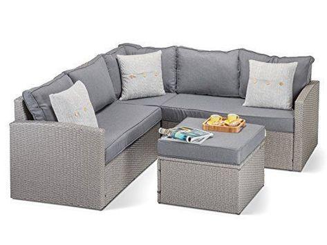 Calabria Grey Rattan Corner Sofa With Luxurious Thick Grey Cushions Grey Rattan Footstool And Glass Beautiful Designer Grey Ratt