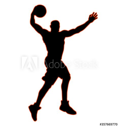 High Jumping Basketball Player In Jump Throw Best Slam Dunk With A Ball Black And Orange Outline Ad Player In 2020 Basketball Players Slam Dunk Human Silhouette