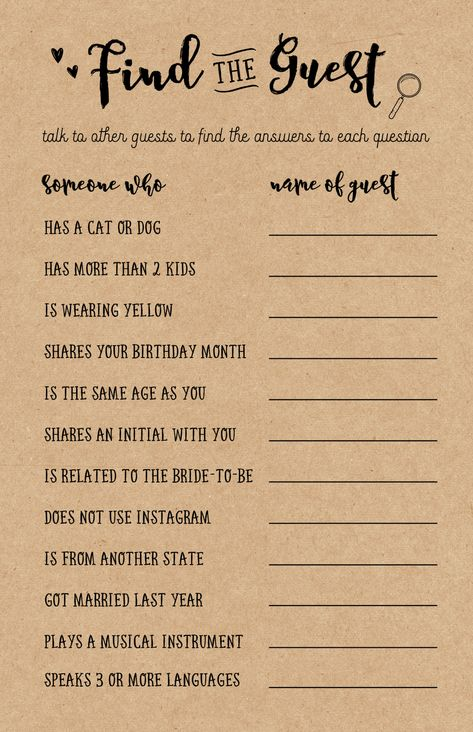 """Bridal Showers are extra fun when friends and family come together to celebrate the Bride's upcoming special day.  When guests get together at the beginning of the shower, this printable game """"Find the Guest"""" is usually a great ice breaking game for everyone to get to know each other."""