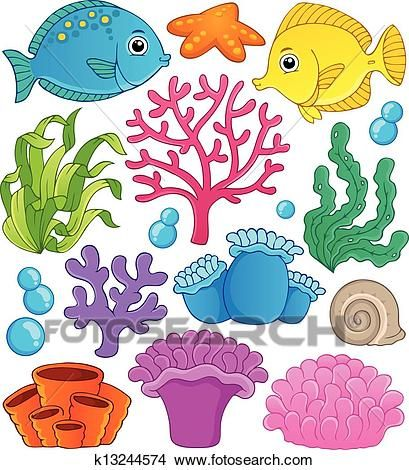 Coral Reef Theme Collection 1 Clipart Coral Reef Drawing