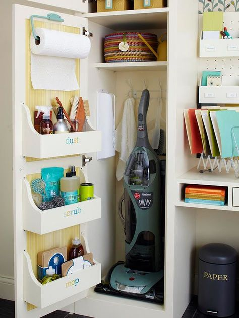 Utility Matters  Improve the efficiency of a utility closet by adding shallow compartments to the back of the door. With all of your cleaning supplies conveniently located in one place, everyday and emergency cleanups are quick affairs. Attach hooks to the back of the closet to support rags and a dustpan. And organize those plastic bags once and for all with a bag dispenser installed inside the cabinet.