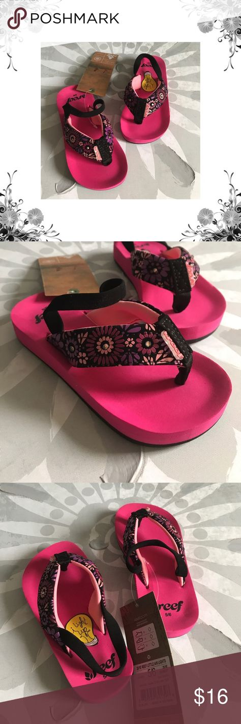 4f1d9b528 Reef Little Girl s  Lil Ahi  Light Up Flip Flop s New with box. Toddler Flip  Flops. Slip On. Man Made and Faux Suede materials. Floral Print.
