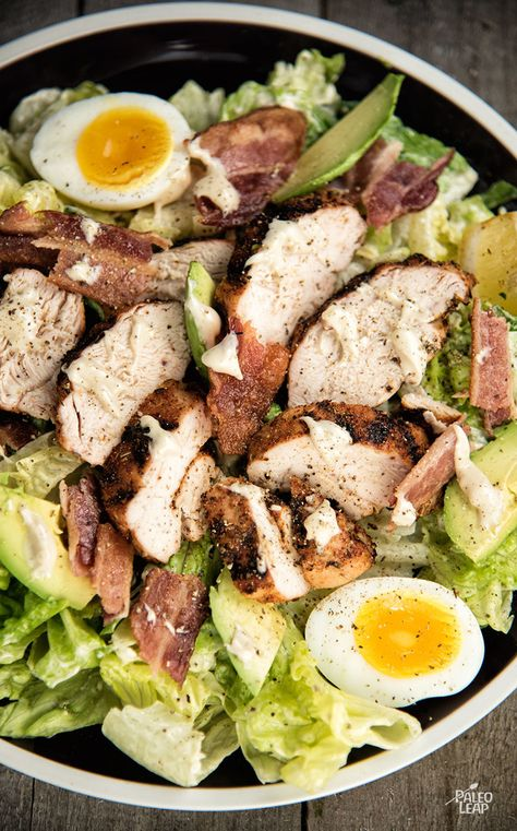 Chicken And Avocado Caesar Salad - Who needs croutons? Check out this Paleo upgrade to the classic Caesar salad. #Paleo #GlutenFree