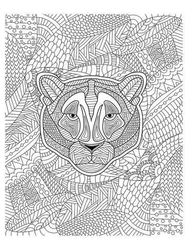 Coloring Poster: Tiger & Jungle Design Coloring Art by Anonymous :