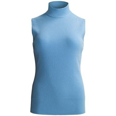 0594a72f7c0f5 Ribbed Mock Turtleneck Sweater - Sleeveless (For Plus Size Women ...