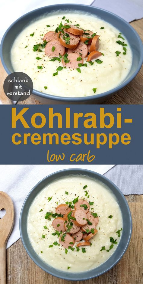 Kohlrabicremesuppe low carb Rezept - Perfekt zum gesunden Abnehmen im Rahmen einer low carb lchf keto Ernährung - low carb Rezepte - schlankmitverstand