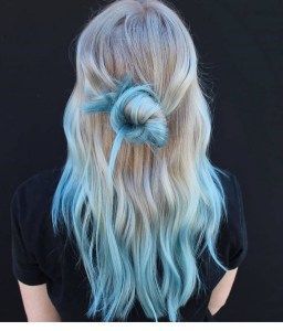 190 Platinum Blonde Hair Shades And Highlights In 2020 Blue Ombre Hair Teal Ombre Hair Blonde And Blue Hair