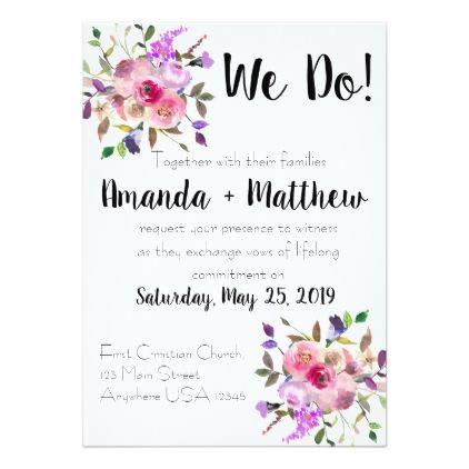 Semi Formal Purple Floral Wedding Invitation Zazzle Com