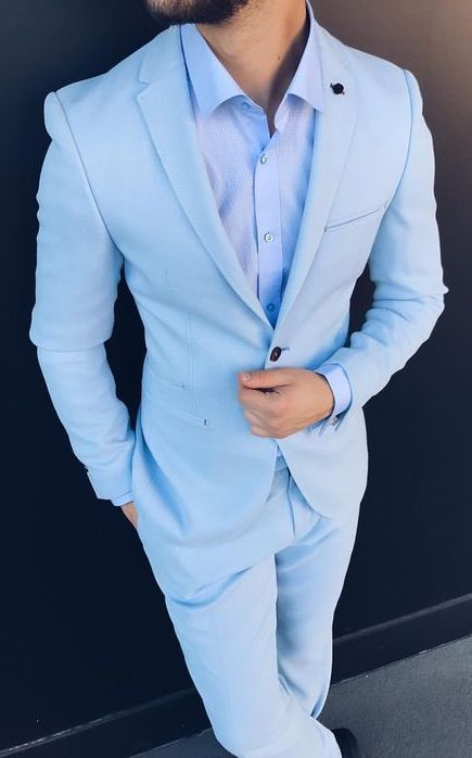 Light Sky Blue Custom Mens Suit With Matching Blue Button Down