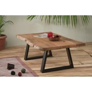 Table Basse Naturel Metal Et Bois Zen Meuble House Marron En 2020 Table Basse Table Basse Fer Et Bois Meuble House