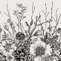 Material Do Szycia Bezszwowe Granica Wiosenne Kwiaty I Galazka Piwonie Spirea Kwiat Botanical Illustration Vintage Beautiful Flower Drawings Flower Drawing