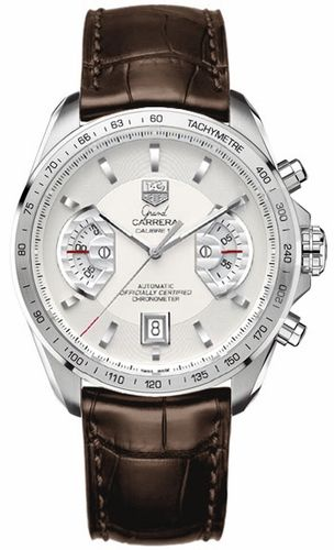 Love: Grand Carrera Automatic Chronograph - Silver Dial and Brown Alligator Band