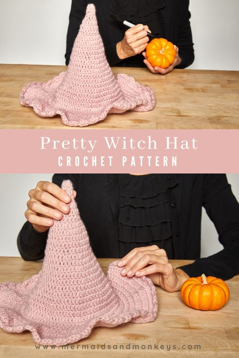 Crochet Pattern - Pretty Witch Hat: This hat is made in a beautiful dusty rose color and has a delicate scalloped trim around the edges. CLICK THE LINK NOW FOR MORE! Crochet Fall, Holiday Crochet, Crochet Gifts, Cute Crochet, Crochet For Kids, Crochet Roses, Crocheted Flowers, Crochet Stars, Beautiful Crochet