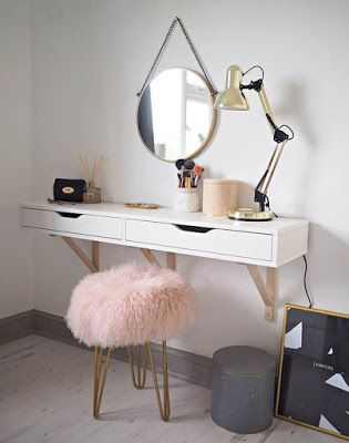Wall Mounted Dressing Table With Mirror For Bedroom Minimalist Interior Room Inspiration Scandinavian Dressing Tables Room Decor