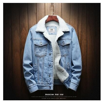 Men Winter Jean Jacket Outerwear Denim Coat Men Large Size Wool Liner Thicker Winter Denim Jacket - Light / XXXL