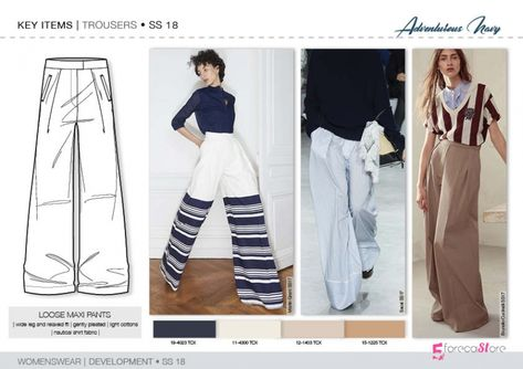 Discover the new SS18 TROUSER & SKIRT development designs by 5forecaStore Fashion trend forecasting. #FashionTrendsAnalysis