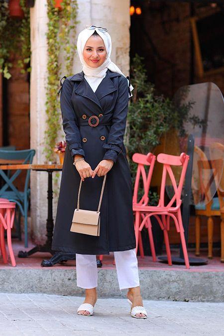 Elizamoda Siyah Cep Ve Dugme Detayli Trenc In 2020 Fashion Shirt Dress Style