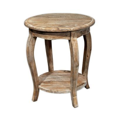 Alaterre Rustic Round End Table In Driftwood Wood End Tables