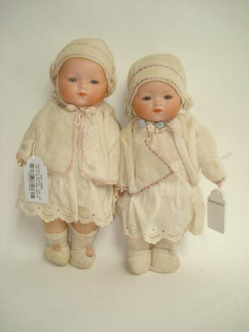 Pair of A.M 341 bisque head Dream baby dolls 2