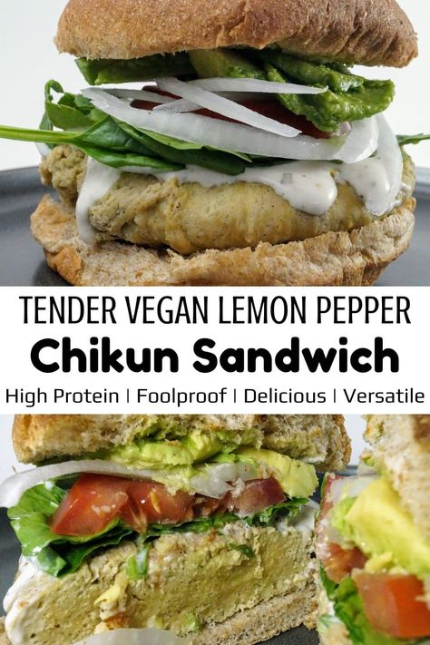 A vegan chicken sandwich done to perfection! It's easy and requires about 1 hour. We use vital wheat gluten to make a flavored seitan that is simmered in broth. You can't go wrong with this recipe, everyone loves it! #veganchicken #vegansandwich #seitanchicken #seitansandwich #easyseitan