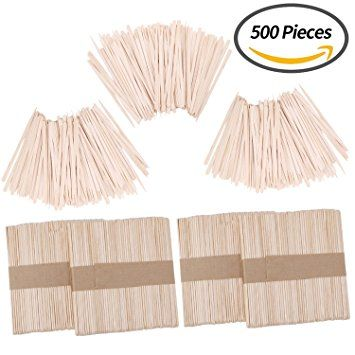 Senkary 500 Pieces Wax Applicator Sticks Wood Wax Spatulas Wood