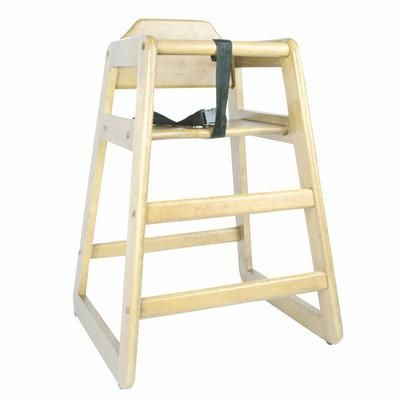La Baby Restaurant Style Stack Able Wood High Chair Cherry