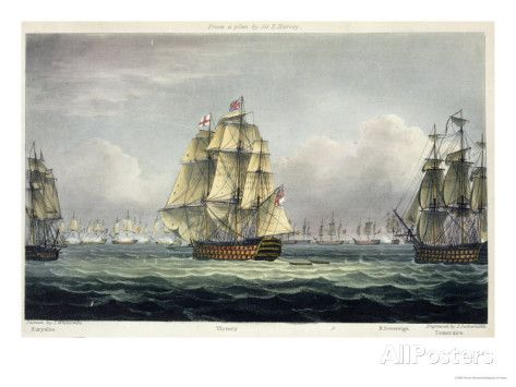 HMS Victory Sailing For French Line, Battle of Trafalgar, 1805, Engraved, T. Sutherland, Pub.1820 Giclee Print