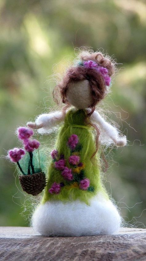 Winter doll Ornament Needle felted doll Waldorf inspired doll image 4