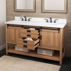 Style Selections 60 In Brown Double Sink Bathroom Vanity With White Engineered Stone Top Lowes Com In 2020 Double Sink Bathroom Double Sink Bathroom Vanity Bathroom Vanity