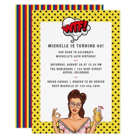 Pop Art Comic Birthday Party Invitation Zazzle Com Birthday Party Invitations Art Birthday Party Invitations Pop Art Comic