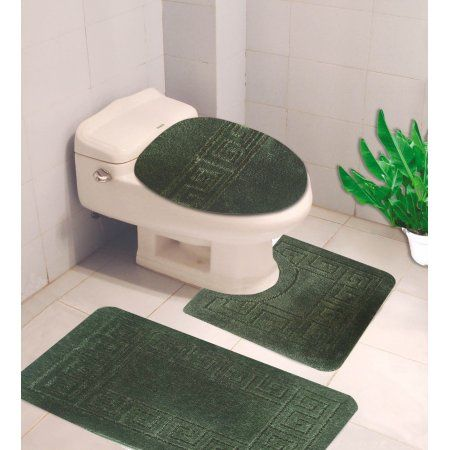 10 Hunter Green 3 Piece Egyption Design Bathroom Mat Set Plain