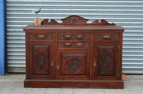 Large Antique Mahogany Sideboard. - Victorian Large Antique Mahogany Sideboard Aunt Lucy Vintage