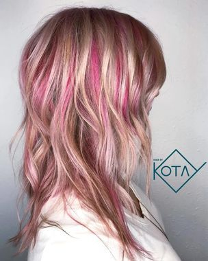 P Pink Highlights P Blonde Hair With Pink Highlights Pink Hair Highlights Kids Hair Color