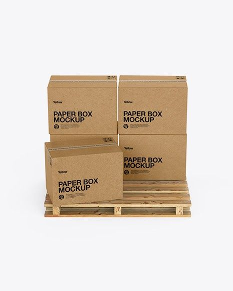 Download Wooden Pallet With 5 Kraft Boxes Psd Mockup Front View Mockup Free Psd Box Mockup Free Psd Mockups Templates