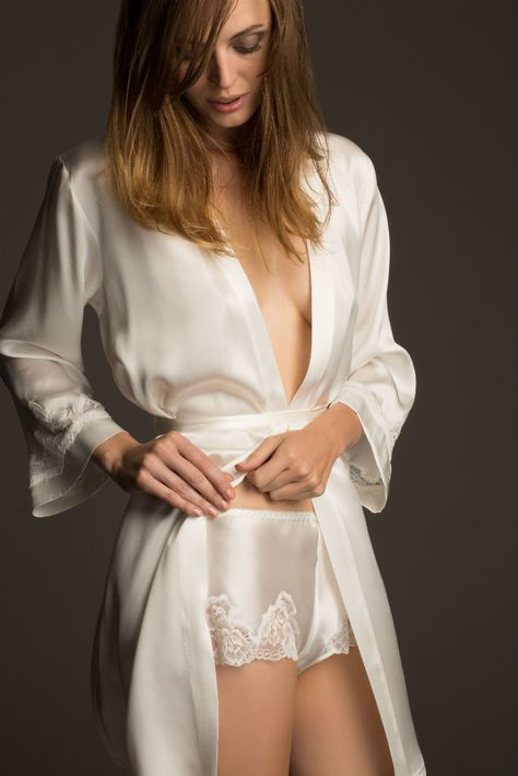 Introducing NK iMode: Silk Nightwear and Bridal Lingerie - These ivory tap panties with lace trim would be lovely under fuller wedding dress skirts.