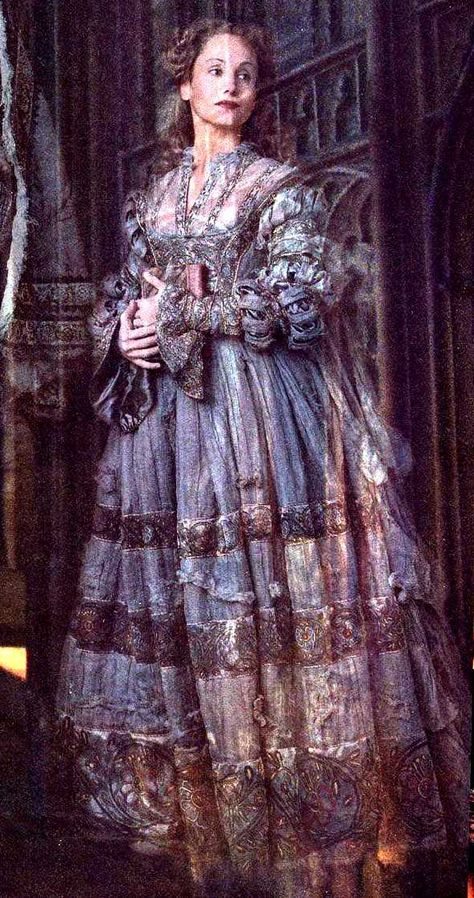 Helena Ravenclaw (c. late 10th century – early 11th century) also known as the Grey Lady, was a witch and Rowena Ravenclaw's daughter. At some point after graduating Helena stole her mother's diadem and ran away to Albania. Rowena became fatally ill and hoping to see her daughter one last time, sent the Bloody Baron, a man who harboured an unrequited love for Helena, to find her. In a rage the Baron murdered Helena when she refused to return with him. She eventually returned as a ghost to Hogwar