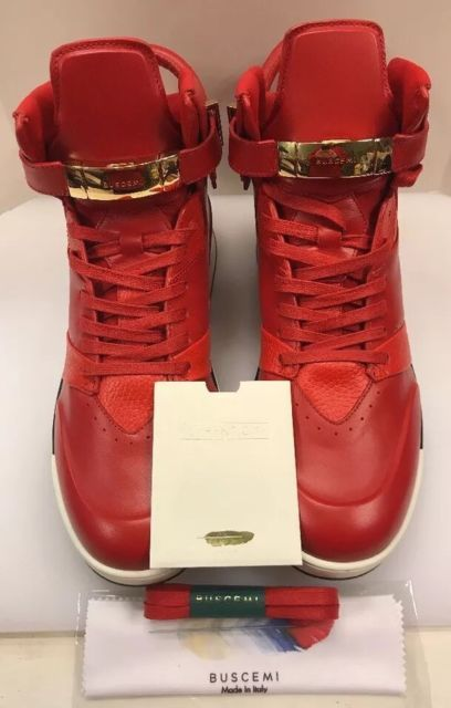 37ebf2d99c3 Buscemi B-Court Red Calfskin Hi Top Sneaker Padlock Men 12 US 45 EU ...