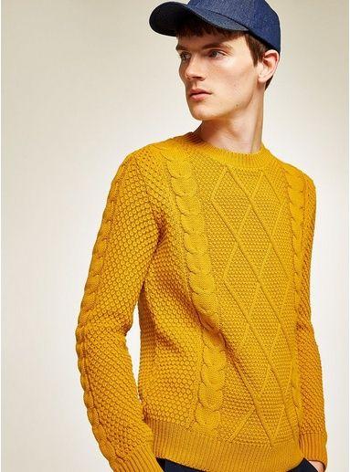 Mens Yellow Mustard Cable Knit Jumper Mens Cardigan Sweater Cable Knit Jumper Mens Men Sweater