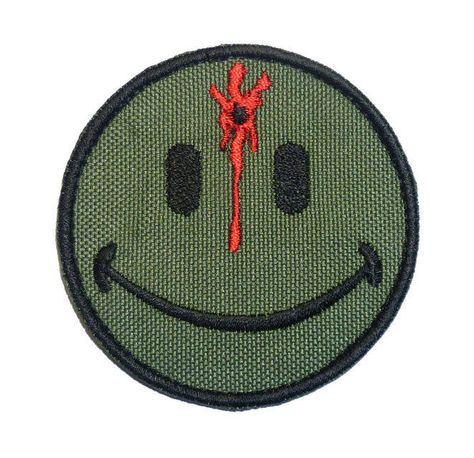 Olive Drab OD Smiley Evil Angry Green Morale Tactical Military Milspec Tactical Isaf Touch Fastener Patch