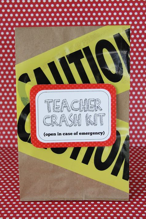 Teacher emergency crash kit--bag filled with chocolates for those days when nothing else will do...cute for teacher appreciation/beginning school year, etc.