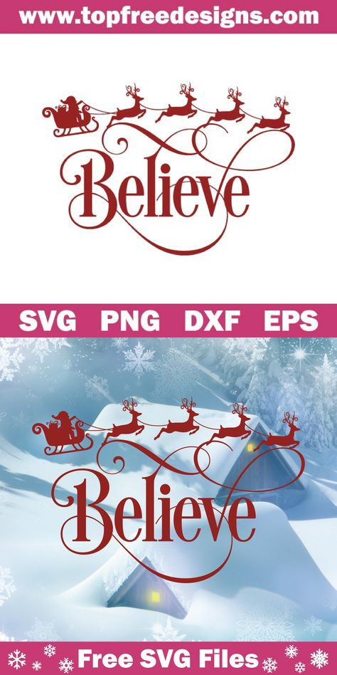 Free Believe Svg File - Cricut T Shirts - Ideas of Cricut T Shirts - Free Believe Svg File for Cricut Silhouette Cameo Cricut Christmas Ideas, Merry Christmas, Christmas Vinyl Crafts, Christmas Decorations, Cricut Svg Files Free, Free Svg Cut Files, Cricut Fonts, Believe, Project Life