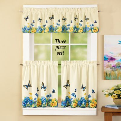 Vintage Butterfly And Flowers Cafe Curtain Set Cafe Curtains