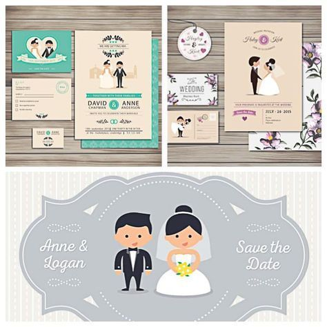 Lovely Wedding Invitation Cards With Cartoon Characters Set