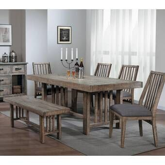 Bailee 6 Piece Solid Wood Dining Set Reviews Joss Main Rustic Dining Room Rustic Dining Room Table Grey Dining Tables