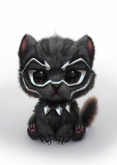 Black Panther as a cute Kitty Cute Animal Drawings, Cute Drawings, Kawaii Drawings, Cute Baby Animals, Funny Animals, Anime Animals, Funny Cats, Black Panther Marvel, Black Panther Cat