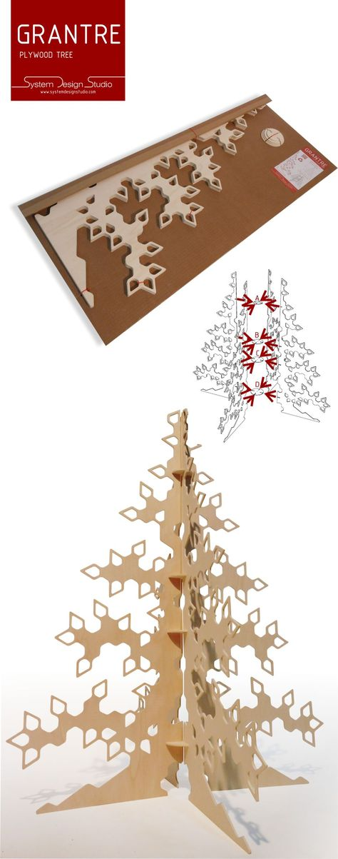 If you are looking for something widely different than the usual Christmas tree, we present an alternative. One modern Christmas tree sprung out from the Norwegian tradition of using wood. This Christmas tree is made of natural plywood in four parts are easlily reassembled. The Christmas tree comes flat packed and is easy to carry and store after use.
