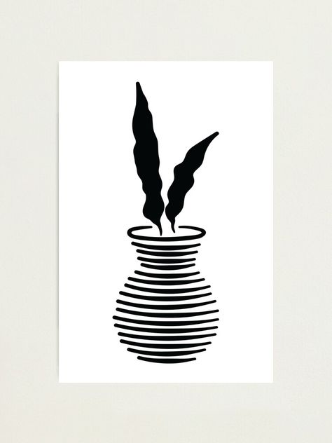 Two leaves black and white abstract potted plant illustration Photographic Print
